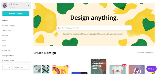 canva home page, perfect pinterest image
